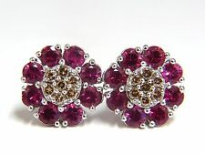 2.65ct Natural Fancy Color Diamonds Ruby Cluster Earrings 14kt.+