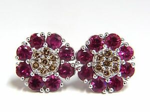2.65ct Natural Fancy Color Diamonds Ruby Cluster Earrings 14kt