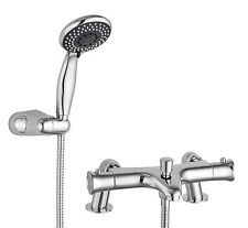 Modern Thermostatic Bath Shower Mixer Valve Tap Kit Deck Mounted or Wall Mounted
