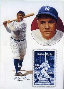 Babe Ruth USPS 20c Stamp 5x7 Postcard x One Dozen