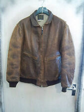 VINTAGE AVIREX US NAVY ISSUE G-2 DISTRESSED LEATHER FLYING JACKET SIZE L