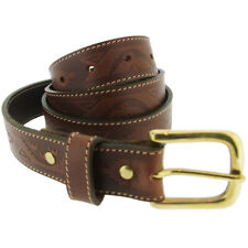 Charles Smith Tan Leather Polo Style Embossed Belt Size 34 - RRP £25
