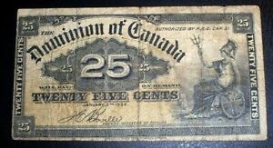 Dominion of Canada 25 Cents Fractional Currency Jan 2, 1900