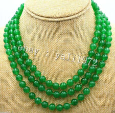 NATURAL 8MM GREEN JADE GEMSTONE BEADS NECKLACE 54INCH