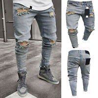 Mens Ripped Skinny Jeans Distressed Frayed Slim Fit Denim Pants Casual Trousers