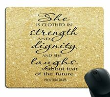 Smooffly Proverbs 31:25 Mouse Pad,Bible Verse Gold Sparkles Glitter (Sf-0017)