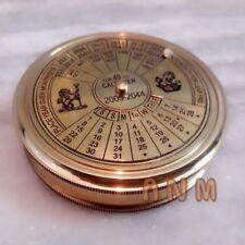 Antique Nautical Brass Calendar Poem Compass 3 inch Vintage gift