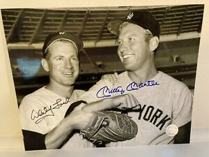 MICKEY MANTLE & WHITEY FORD AUTO AUTOGRAPH SIGNED 8X10 PHOTO YANKEES HOF HOF WS