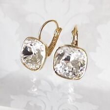 Clear White Bridal Goldtone Drop Earrings made w/ Cushion Cut Swarovski Crystal