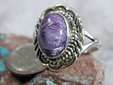 New Ladies Sterling Silver Chaorite Ring By Navajo Virgil Chee Size 8 3/4