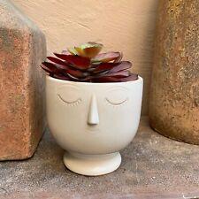 White Ceramic Round Face Head Plant Pot Cover Planter Vase Gisela Graham - Small