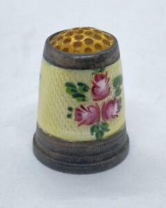 Rare Antique Stone Top Floral Enamel Band Silver Thimble Germany Circa 1900!:)
