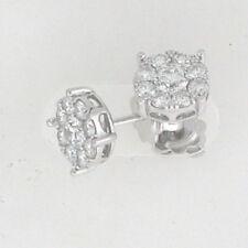 14k White Gold Cluster Diamond Earrings 1.50 Ctw