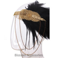 K161 Gold Great Gatsby Headpiece Flapper 1920 Costume Headband Headdress Feather