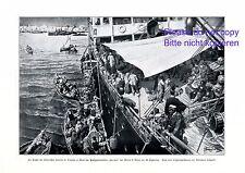 Fuite des Italiens colonie à Tripoli XL Art pression 1911 Italie Lybie