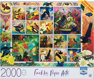 New Milton Bradley Finchley Paper Arts Birds of Asia 2000 Pc Premium Puzzle