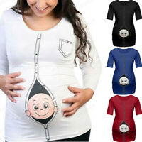 Women Pregnancy Short Sleeve T Shirt Maternity Cartoon Baby Print Top Tee Blouse