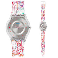 Swatch Skin Jardin Fleuri Watch SFE102 Analogue Silicone Multicolour, White