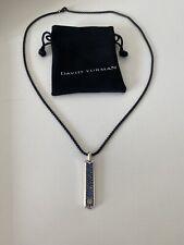 David Yurman Pavé Tag with Blue Sapphire with chain 26''