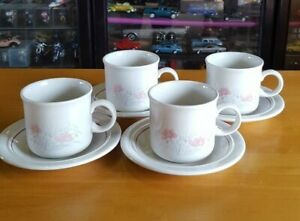 Vintage Staffordshire Tableware England Cups & Saucers - Set of 4 - Pink Floral