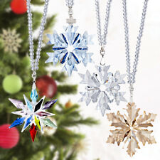 Clear Crystal Snowflake Pendant Glass Christmas Tree Ornament Car Decoration 4pc