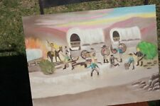 Painting, Folk Art, primitive, Western Americana Wagon Train, Oil on Canvas
