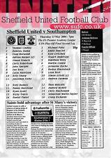 Teamsheet - Sheffield United U19 v Southampton U19 2003/4 Play-Off Final