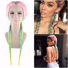 Kim Kardashian Kylie Jenner Coachella Style Rainbow Braided Hair Fashion Wig