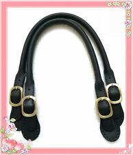 51cm Taschengriffe Echtleder Genuine Leather schwarz anti-brass Metallteile