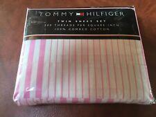 New Tommy Hilfiger Twin Sheet Set Pink White Stripe