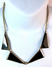 ELEGANT BLACK GOLD TRIANGLE NECKLACE SEXY DRESS PARTY FORMAL WEAR UNIQUE (ST7)