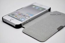 For iPhone 5 Black Faux Leather Magnetic Flip Book Combo Hard Case Cover w/ SP