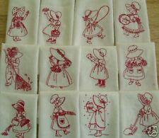 Quilt Blocks Embroidered Redwork Bonnet Girl Vintage Design