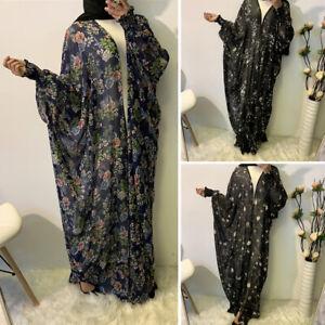 Dubai Open Dress Abaya Kaftan Women Batwing Sleeve Farasha Jilbab Muslim Caftan