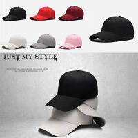 Cool Plain Baseball Cap Solid Color Blank Curved Visor Hat Adjustable Hats TY