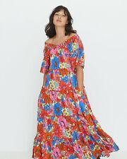 Oliver Bonas Women Bardot Flowing Floral Pink Maxi Dress