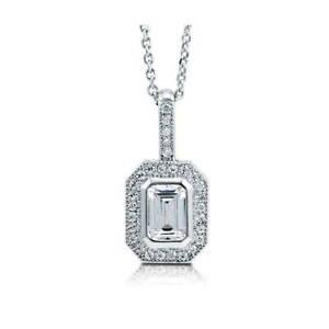 BERRICLE Sterling Silver Emerald Cut CZ Halo Anniversary Fashion Necklace