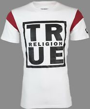 TRUE RELIGION Mens T-Shirt SQUARE FOOTBALL White Red w Black Print $79 Jeans NWT