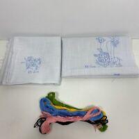 Vintage Vera Neumann 8 Linen Napkins Needlepoint Kit Floral Hand Drawn Design