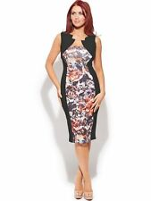 AMY CHILDS LIPSY @NEXT Amber Abstract Printed Panel Midi Bodycon Dress Sz 10 NEW