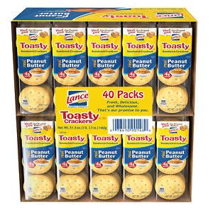 Lance Fresh Toasty Crackers With Rich Peanut Butter Sandwich 40 packs On The Go