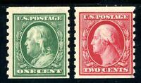 USAstamps Unused VF US 1910 Franklin Washington Perf 8.5 Coil Sct 392 393 OG MNH