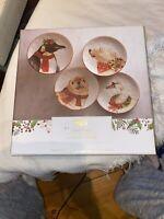 "Pier 1 Christmas Salad Plates Penguin Seal Polar Bear Swan Set of 4 - 8.25"" NIB"