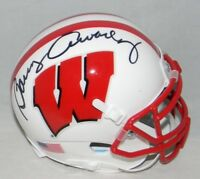BARRY ALVAREZ SIGNED AUTOGRAPHED WISCONSIN BADGERS WHITE MINI HELMET JSA