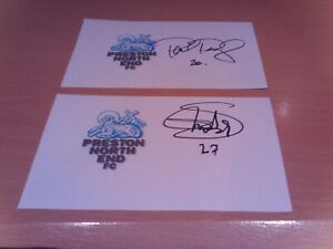 2 signed cards of ex preston north end  footballers