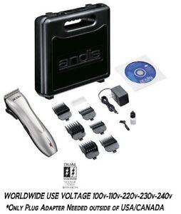 Andis Rechargeable DUAL VOLTAGE Cordless Clipper SET-Shear,Attachment Comb,CASE
