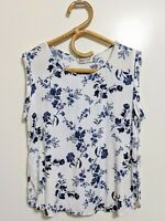 Sunny Girl 10 Blouse Top White Blue Flowers Print Sleeveless Corporate Casual