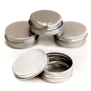 10 x 20ml screw lid Aluminium Cosmetic Pots Lip Balm Jars candle Tin Empty jja10