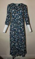 Seasalt Women Blue Notch Neck Floral Cotton 3/4 Sleeve Midi Tea Dress 8 10 12 16