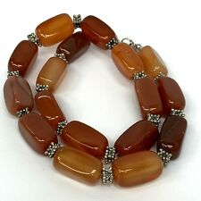 """Carnelian Agate Natural Beaded Orange / Red Necklace 18-19.5""""inch"""